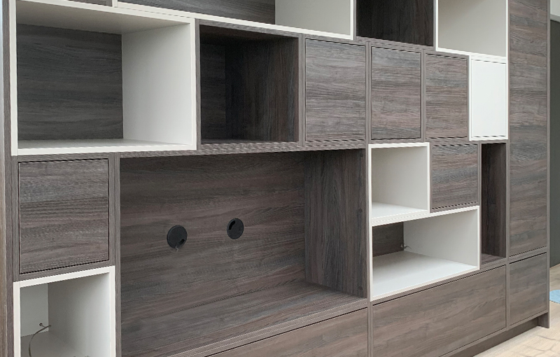 Bespoke feature wall storage and display unit